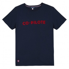 Le Jean F Copilote Navyblue - Navyblue t-shirt with screen printing