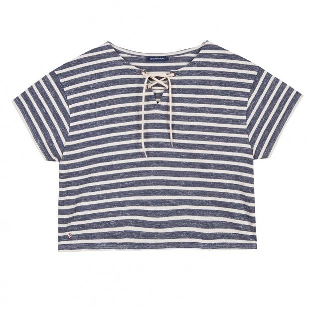 La eleonore CREME/BLEU CHINE - Tshirt CREME/BLEU CHINE