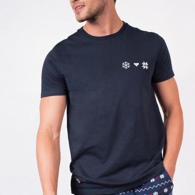 Le Flocon - T-shirt marine à poche