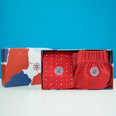 Le Fredo + les Lucas red with pattern - Giftbox with boxershort and socks