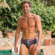 L'Amiral PROVENSLIP - Blue swimbrief with pattern