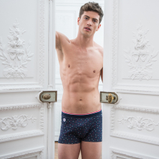 Le Marius Little Dots - Navyblue boxer brief with dots