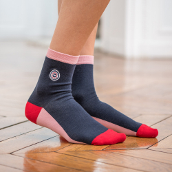 Les lucie MARINE/ROSE - Chaussettes MARINE/ROSE