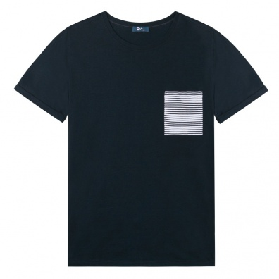 Le Nicolas - Blue T Shirt - Pocket with Blue Stripes