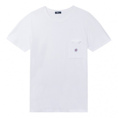Le Matthew - White T shirt - pocket with blue dot