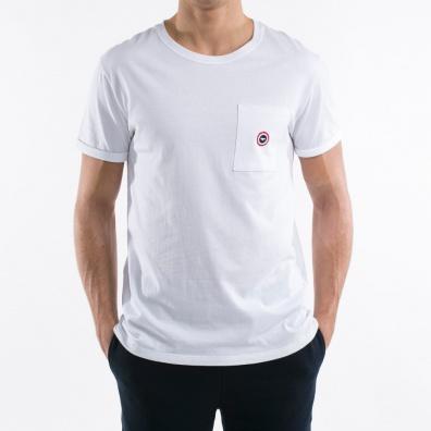 Le Matthew - White T shirt - pocket with blue dot