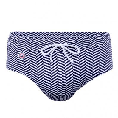 Le Chevron Bleu - Blue chevron pattern swim brief
