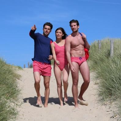 Le Calypso rouge - Red striped swim brief