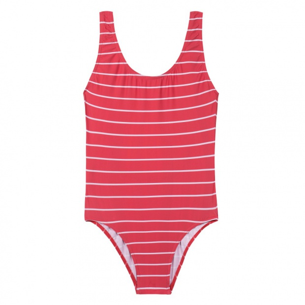 One Piece Red Striped Swimsuit