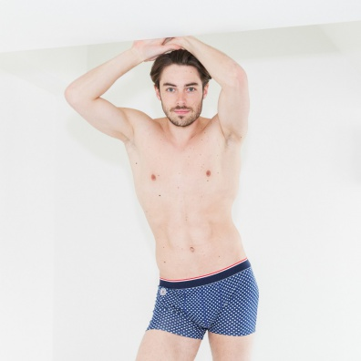 Le Pointilleux - Blue boxer brief with dots