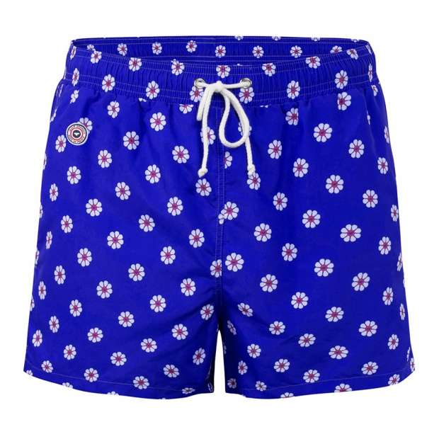 Le Pâquerette -Blue Pattern Swim Shorts