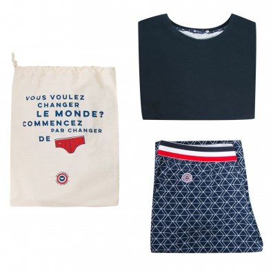 L'ASSOUPI - NAVY PYJAMA PACK WITH HASHES
