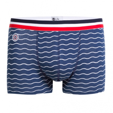 Le Marius Vagues - Blue boxer brief with wave patterns