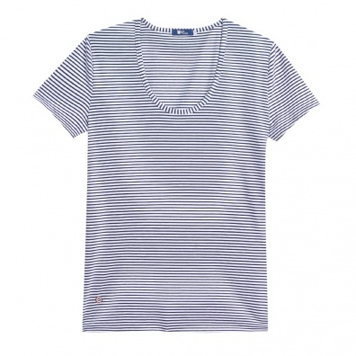 Le Brigitte - Blue & white round collar t-shirt