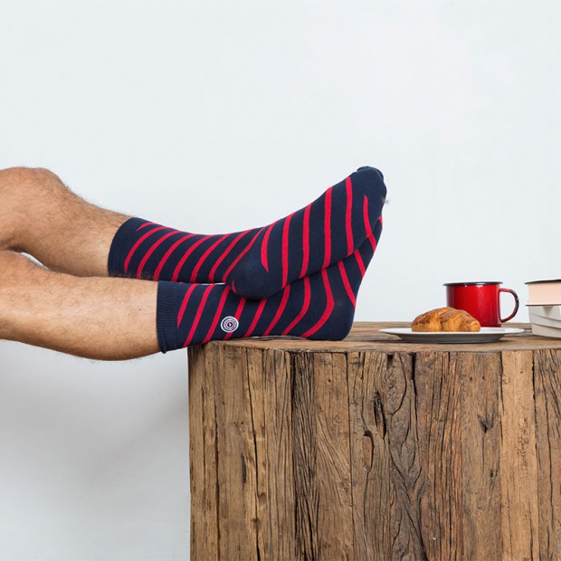 Les Lucas striped navy and red - Striped navy and red socks