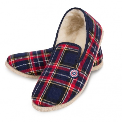 Les charentaises tartan red and blue - Red and blue tartan charentaises