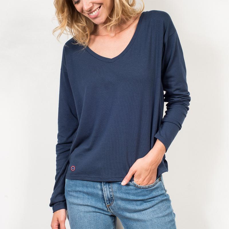 t shirt femme bleu la marthe t shirt bleu made in france. Black Bedroom Furniture Sets. Home Design Ideas