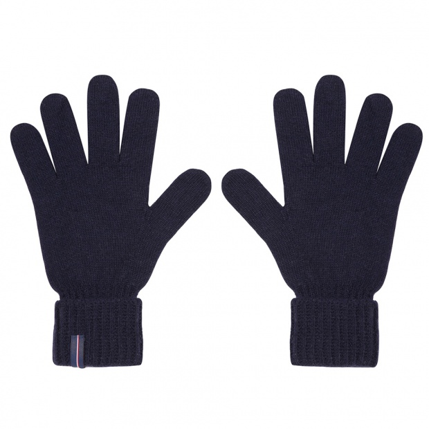 Les Andrieus - Navy knitted wool gloves
