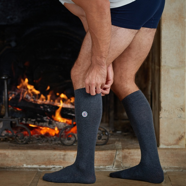 Les Nicolas Anthracite - Embroidered grey socks