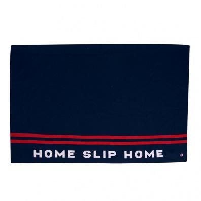 Le Gaspard - Plaid en laine bleu marine et rouge